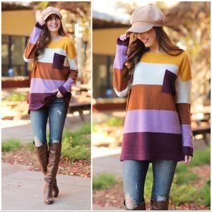 Mustard, Plum and Camel Striped Sweater Tunic